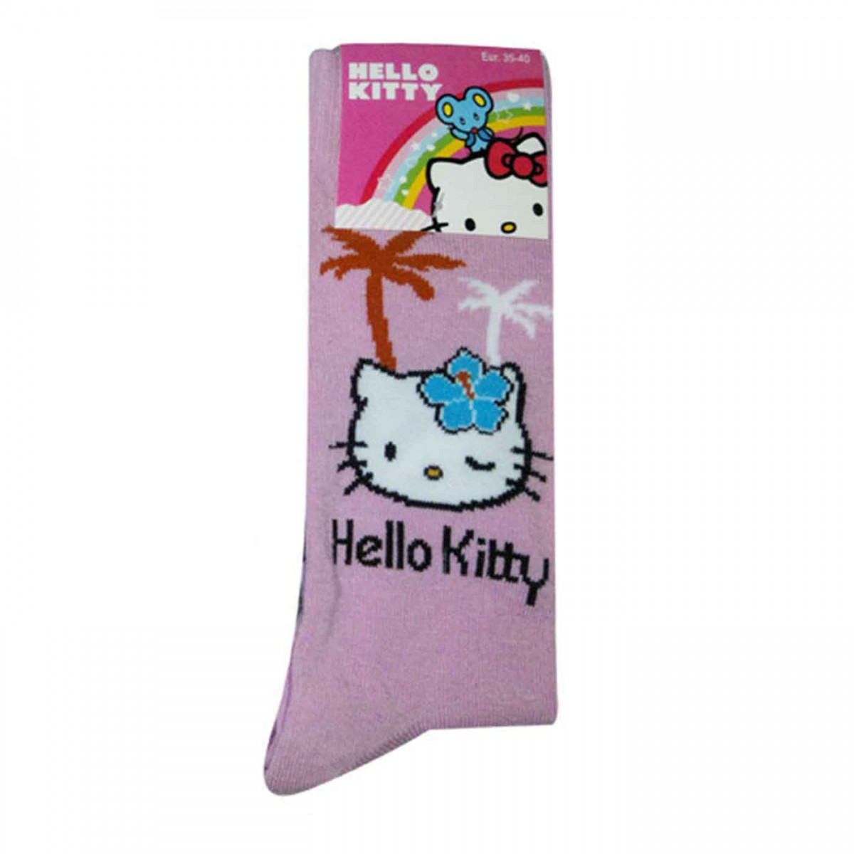 Hello Kitty Socken pink mit Palmen